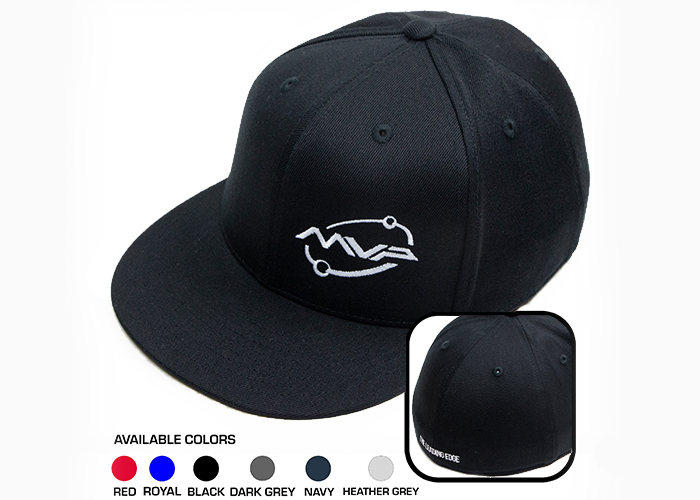 "14eea8e6305 Baseball style flat brim premium wool blend Flexfit Premium 210 Fitted Hat  with the white MVP Orbit logo embroidered on the left front panel with ""The  ..."