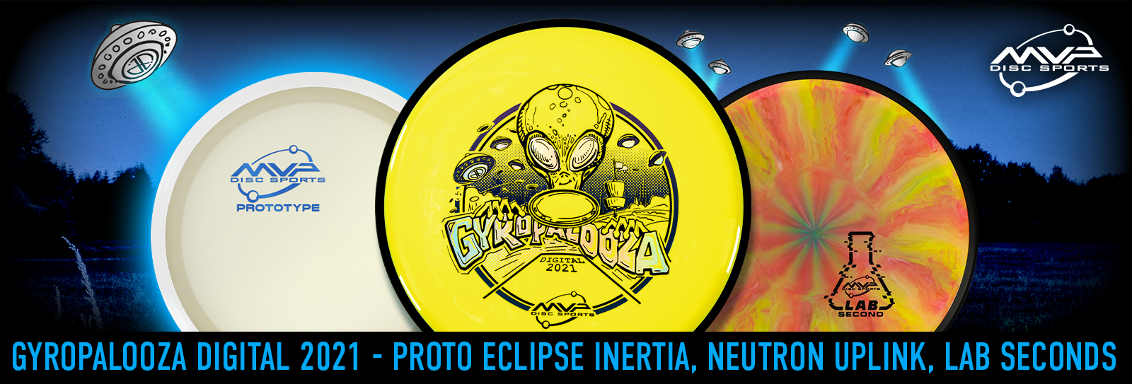 GYROpalooza banner featuring Yellow Uplink, Blue Glow Inertia, and Various Lab Seconds discs